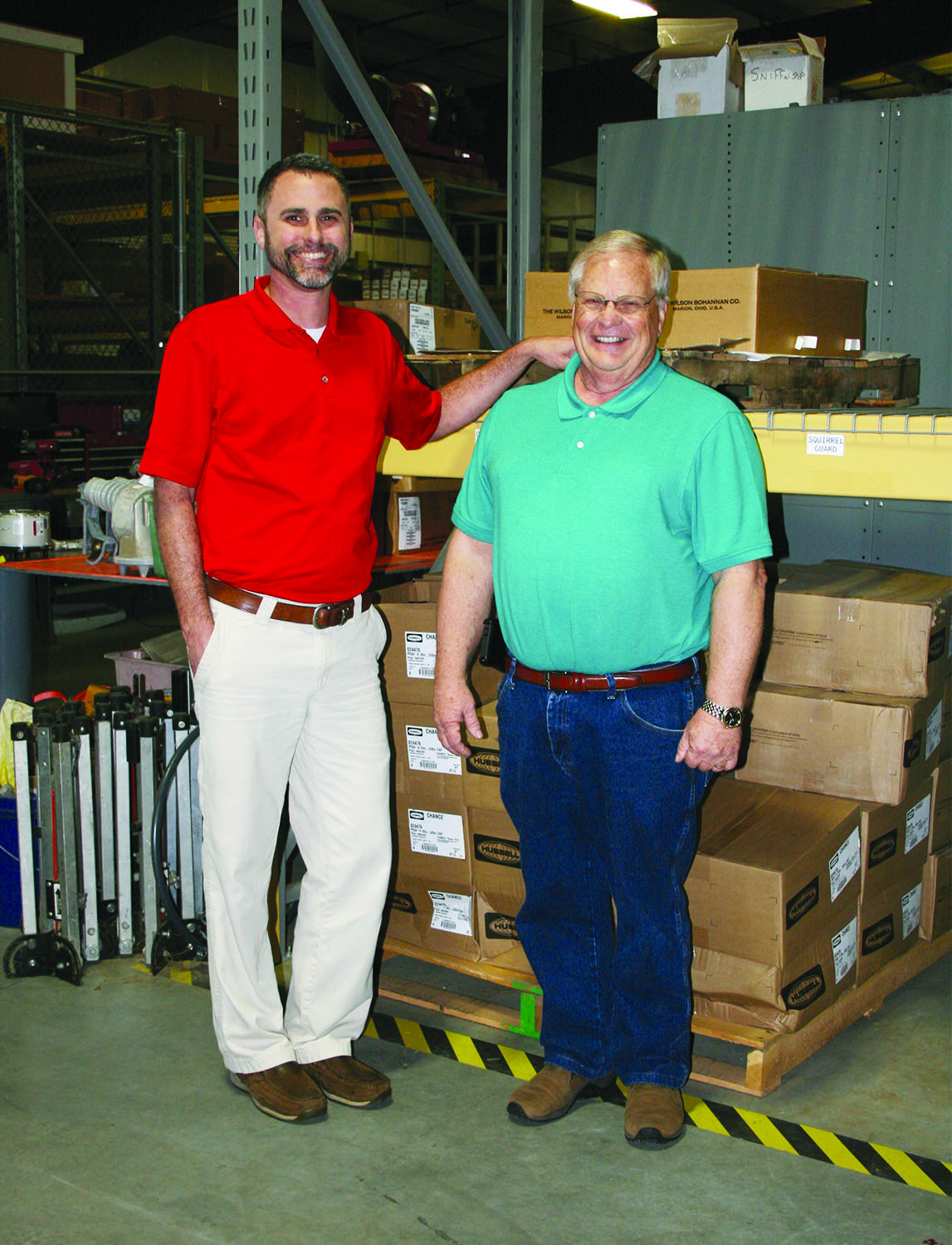 Baldwin EMC retiree Butch Long sits down with employee Tim Hobbs